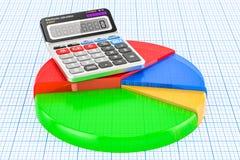 Gekleurd cirkeldiagram met 3D calculator, Royalty-vrije Stock Foto