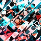 Gekleurd cirkels en veelhoeken geometrisch abstract patroon royalty-vrije illustratie