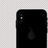 Gekleurd concept moderne telefoon met dubbele camera mobiele malplaatjes op transparante achtergrond Spot omhoog van dubbele came Stock Foto's