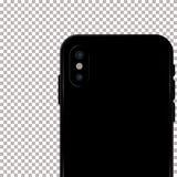Gekleurd concept moderne telefoon met dubbele camera mobiele malplaatjes op transparante achtergrond Spot omhoog van dubbele came Stock Afbeelding