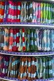 Gekleurd draadborduurwerk voor borduurwerk en borduurwerk dwarssteek stock foto