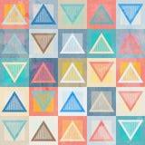 Gekleurd driehoeks naadloos patroon met grungeeffect Stock Afbeelding