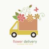 Gekleurd embleem van de vrachtwagen van de bloemlevering Royalty-vrije Stock Fotografie
