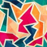 Gekleurd geometrisch naadloos patroon met grungeeffect Stock Foto