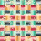 Gekleurd geweven naadloos patroon met grungeeffect Royalty-vrije Stock Afbeeldingen
