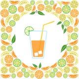 Gekleurd glas sap op een citrusvruchtenachtergrond, vector vector illustratie