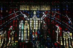 Gekleurd glasvenster in de kerk van Notre Dame D Royalty-vrije Stock Afbeeldingen