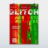 Gekleurd glitch ontwerp achtergrondaffichemalplaatje Stock Foto
