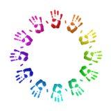 Gekleurd handprints Royalty-vrije Stock Foto's