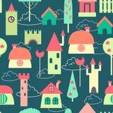 Gekleurd huizen naadloos patroon Stock Afbeeldingen