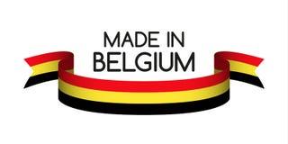 Gekleurd lint met Belgische die tricolor, in België wordt gemaakt stock illustratie