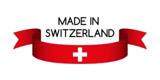 Gekleurd lint met de Zwitserse die kleuren, in het symbool van Zwitserland worden gemaakt Stock Fotografie