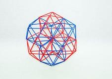Gekleurd Met de hand gemaakt Dimensionaal Modelof geometric solid stock afbeelding