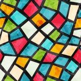 Gekleurd mozaïek naadloos patroon met grungeeffect Stock Afbeeldingen