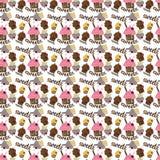 Gekleurd naadloos patroon met kleurrijke fruit en chocoladecupca Royalty-vrije Stock Foto