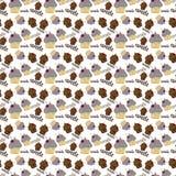 Gekleurd naadloos patroon met kleurrijke fruit en chocoladecupca Stock Afbeeldingen