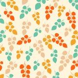 Gekleurd naadloos patroon op bladerenthema De herfst Stock Foto