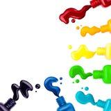 Gekleurd nagellak, borstel, steekproef, kader voor tekst royalty-vrije illustratie