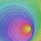 Gekleurd oud Document dat in cirkelsachtergrond wordt gesneden Stock Afbeelding