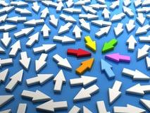 Gekleurd pijlenvoorzien van een netwerk Stock Foto's