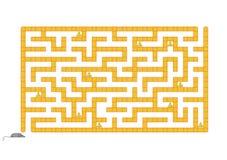 Gekleurd rechthoekig labyrint Help de muis om al kaas te verzamelen Spel voor jonge geitjes Raadsel voor kinderen Labyrintraadsel stock illustratie
