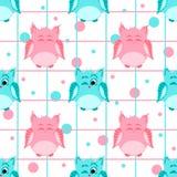 Gekleurd roze en blauw glimlachende en knipogende uilen met strepen en Royalty-vrije Stock Foto's