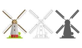 Gekleurd, silhouet en contourmolen op een geïsoleerde witte achtergrond Molen in vlak ontwerp Stock Afbeelding