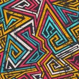 Gekleurd spiraalvormig lijnen naadloos patroon met grungeeffect Stock Afbeeldingen