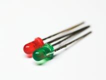 Gekleurd twee lichtgevende dioden Stock Afbeeldingen