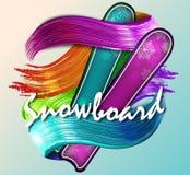 Gekleurd vectorsilhouet snowboarder Vector illustratie Stock Afbeelding