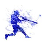 Gekleurd vectorsilhouet van een honkbalspeler Royalty-vrije Stock Afbeelding