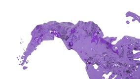 Gekleurd water Het vliegen purpere vloeibare stroom in langzame motie stock footage