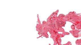 Gekleurd water vliegende rode vloeibare stroom in langzame motie stock video