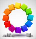 Gekleurde 3D kubussen Stock Afbeeldingen
