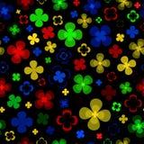 Gekleurde abstracte bloemen op een zwarte achtergrond royalty-vrije stock afbeeldingen