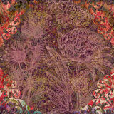 Gekleurde abstracte bloemenachtergrond met ornamenten Stock Fotografie