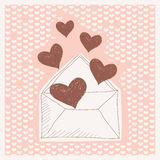 Gekleurde achtergrond met een brief, en harten Stock Foto