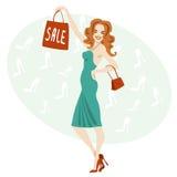Gekleurde achtergrond met een vrouw in een kleding Royalty-vrije Stock Afbeeldingen
