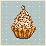 Gekleurde achtergrond met vanillecake Stock Fotografie