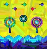 Gekleurde achtergrondafbeelding van abstracte bomenans golven stock illustratie