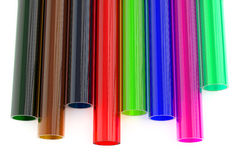 Gekleurde acryl plastic buizen Royalty-vrije Stock Foto