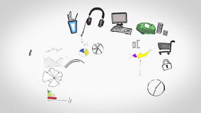 Gekleurde animatie die verschillende bedrijfsaspecten tonen royalty-vrije illustratie