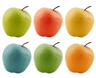 Gekleurde appelen die op wit worden geïsoleerd Stock Foto