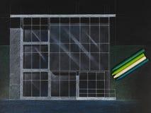 Gekleurde architecturale blauwdruk van een modern huis Royalty-vrije Stock Afbeeldingen