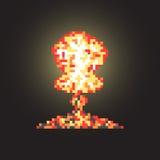 Gekleurde atoomexplosie in pixelkunst met flits Royalty-vrije Stock Afbeelding