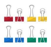 Gekleurde bindmiddelenklemmen Administratieve wasknijper stock illustratie