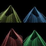 Gekleurde blauwdrukken op zwarte Stock Afbeelding