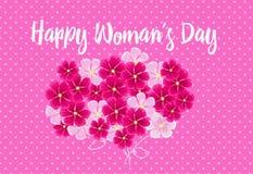 Gekleurde Bloemen op de roze achtergrond Gekleurde vectorillustraties royalty-vrije illustratie