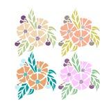 Gekleurde bloemen op een witte achtergrond Royalty-vrije Stock Foto's