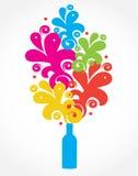 Gekleurde bloemenachtergrond met fles Stock Foto